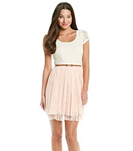 Bee Darlin' Juniors' Ivory Lace Tulle Party Dress