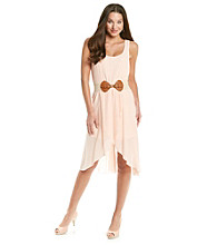 As U Wish® Juniors' Blush Gauze Tulip Belted Dress