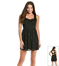 Emerald Sundae® Juniors' Black Sequin Lace Dress
