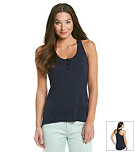 Eyeshadow® Juniors' Lace Detail Hi Low Racerback Tank