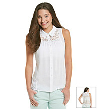 Pink Rose® Juniors' Lace Back Button Down Shirt