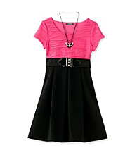 My Michelle Girls' 7-16 Black/Pink Two Tone Swing Dress
