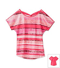Beautees Girls' 7-16 Pink Sequin Striped Criss-Cross Back Top