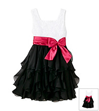 Rare Editions® Girls' 7-16 Black/White Rosette Ruffle Dress