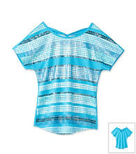 Beautees Girls' 7-16 Blue Sequin Striped Criss-Cross Back Top