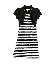 Speechless® Girls' 7-16 Black/White Striped Eyelash Dress with Shrug