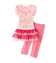 Beautees Girls' 4-6X Pink Heart Leggings Set