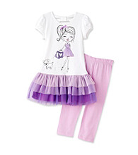 Beautees Girls' 4-6X White/Purple Shopping Girl Leggings Set
