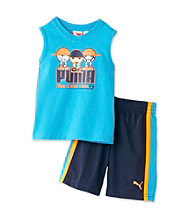 PUMA® Baby Boys' Blue Muscle Tee and Shorts Set