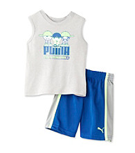 PUMA® Baby Boys Grey Muscle Tee and Shorts Set