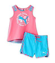PUMA® Baby Girls' Pink Sleeveless Swing Top and Shorts Set