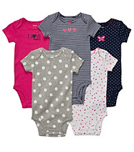 Carter's® Baby Girls' Pink/Navy 5-pk. Short Sleeve Bodysuits