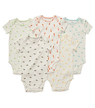 Carter's® Baby Ivory 5-pk. Short Sleeve Animal Print Bodysuits