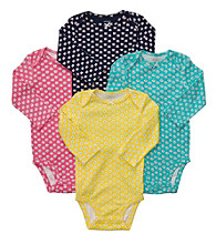 Carter's® Baby Girls' Pink/Yellow/Blue 4-pk. Long Sleeve Animal Print Bodysuits
