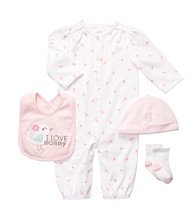 Carter's® Baby Girls' White/Pink 4-pc. Bird Coverall Set