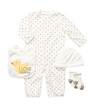 Carter's® Baby Ivory/Grey 4-pc. Duck Coverall Set