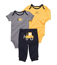 Carter's® Baby Boys' Yellow/Navy 3-pc. Earthmover Pull-On Pants Set