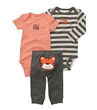 Carter's® Baby Boys' Grey/Orange 3-pc. Tiger Pull-On Pants Set