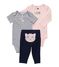 Carter's® Baby Girls' Navy/Pink 3-pc. Kitty Pull-On Pants Set