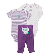 Carter's® Baby Girls' Purple/Ivory 3-pc. Owl Pull-On Pants Set