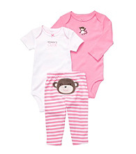 Carter's® Baby Girls' Pink/White 3-pc. Monkey Pull-On Pants Set