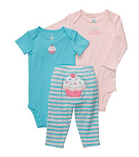 Carter's® Baby Girls' Turquoise/Pink 3-pc. Cupcake Pull-On Pants Set