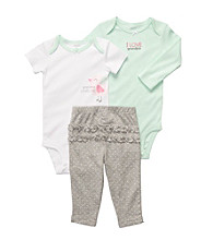 Carter's® Baby Girls' Mint/Grey 3-pc. Birdie Ruffle Pull-On Pants Set