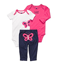 Carter's® Baby Girls' Pink/Navy 3-pc. Butterfly Pull-On Pants Set