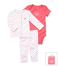 Carter's® Baby Girls' Coral/White 3-pc. Cardigan and Pants Set