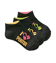 PUMA® Girls' Black 3-pk. Runner Socks
