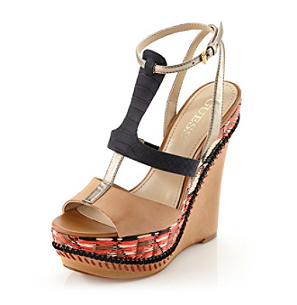GUESS Diastol Wedge Sandals, GOLD METALLIC LEATHER (5)