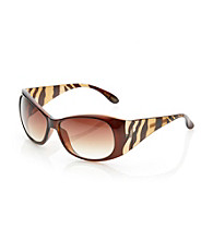 Nine West® Tortoise Plastic Round Etched Sunglasses