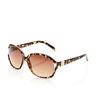 Nine West® Brown Plastic Medium Oval Vented Metal Detail Sunglasses