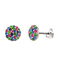 Athra Pave Crystal 1/2 Ball Post Earrings
