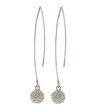 Athra Pave Crystal Ball On Extended Fish Hook Earring