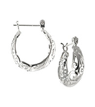 Athra Cutout Filigree Round Click Top Hoop Earrings