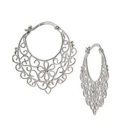 Athra Cutout Filigree Round Click Top Hoop