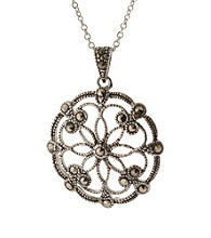 Athra Cutout Filigree Round Pendant On 18