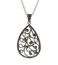 Athra Cutout Filigree Teardrop Pendant On 18