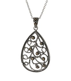 Athra Cutout Filigree Teardrop Pendant On 18' Chain