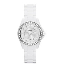 Fossil® Riley Mini Watch in White Acetate/Silvertone with Crystal Bezel 30mm