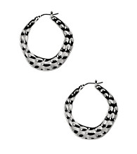 Nine West® Medium Hammered Silvertone Drop Earrings