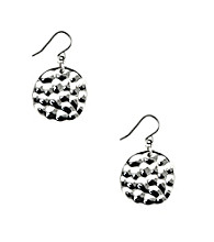 Nine West® Small Hammered Silvertone Drop Earrings