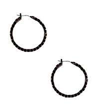 Nine West® Hematite Beaded Hoop Earrings