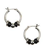 Nine West® Jet and Silvertone Click It Slider Hoop Earrings