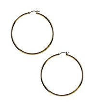 Nine West® Large Rounded Polished Goldtone Click It Hoop Earrings