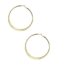 Nine West® Large Flat Goldtone Click It Hoop Earrings