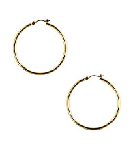 Nine West® Medium Rounded Polished Goldtone Click It Hoop Earrings