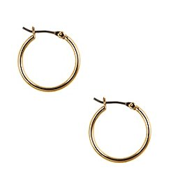 Nine West® Small Rounded Polished Goldtone Click It Hoop Earrings