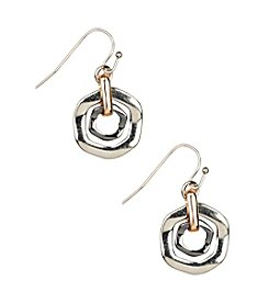 Nine West® Tri-Tone Orbital Leverback Drop Earrings